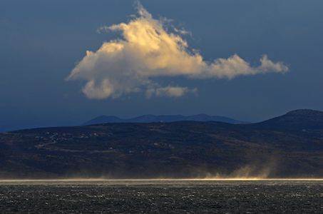 cloud , Bura wind and sea